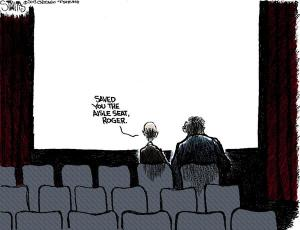 """Saved you the aisle seat, Roger"", the Chicago Tribute honours Roger Ebert and his collegue Gene Siskel"