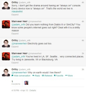 Microsoft Creative Director Adam Orth's tweets that sparked anger from gamers